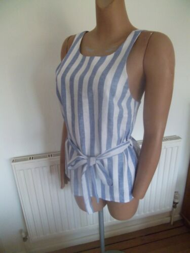 NEW ex Miss Selfridge LINEN mix BLUE WHITE striped top sizes 8 10 12 16
