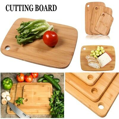 3 Piece Bamboo Wooden Food Cutting Chopping Board Serving Platter Set of Three