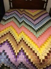 Handmade multi color Bargello queen size quilt