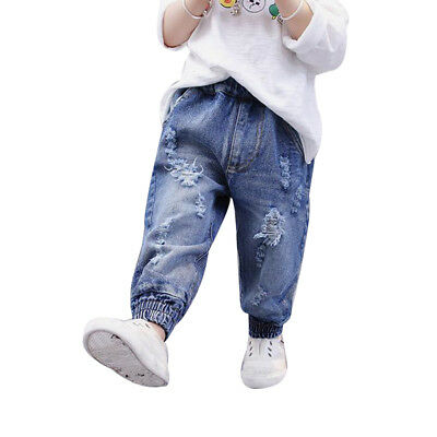 09df9cdada7a Details about Hot Kids Girls Boys Toddler Casual Loose Harem Pants Ripped Denim  Jeans Trousers