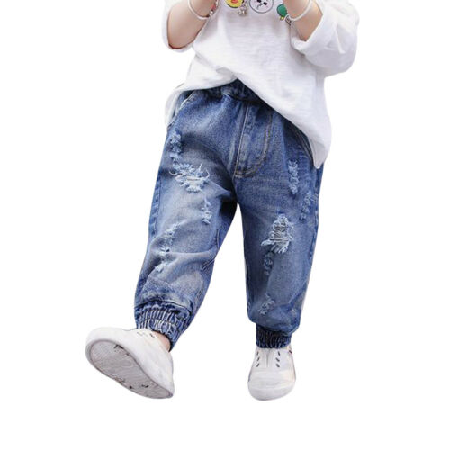 Hot Kids Girls Boys Toddler Casual Loose Harem Pants Ripped Denim Jeans Trousers
