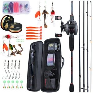 Carbon-Fiber-Casting-Fishing-Rod-Combo-Kit-Portable-Set-Reel-Rod-Bag-Portable-US