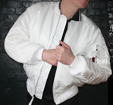 New Genuine Alpha Industries White MA-1 Bomber Jacket Size L Skinhead