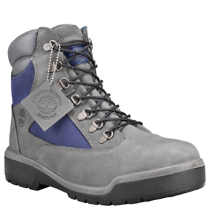 Details about NIB Men Timberland 6 Inch Waterproof Field Boot Grey & Navy Nubuck A1RF5