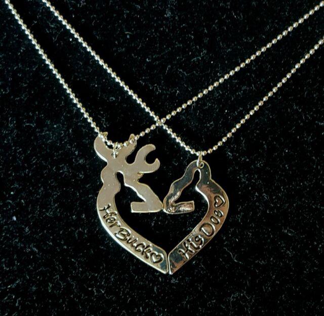 Her Buck His Doe Head Heart Deer Necklace 2 Pc Set Browning