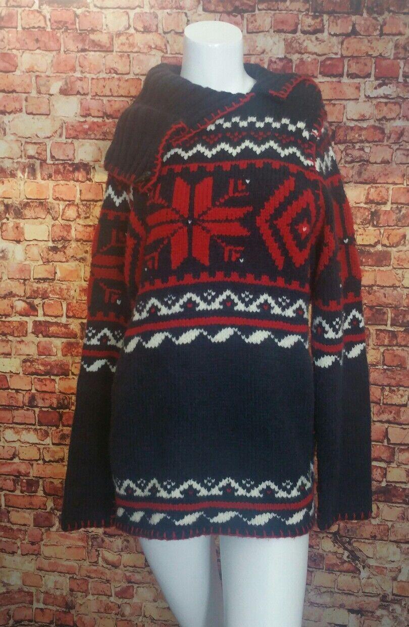 Ralph Lauren Sport Navy Red  Nordic Print Sweater Size L