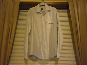 Mens-Azul-Claro-a-Rayas-Manga-Larga-Camiseta-Gap-Tamano-Mediano