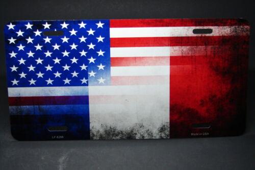 Französische Amerikanische Flagge Metall Aluminium Auto Kennzeichen Frankreich &