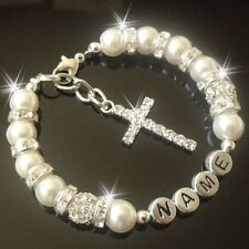 Cross Personalised Bracelet holy  Communion Christening confirmation Baptism
