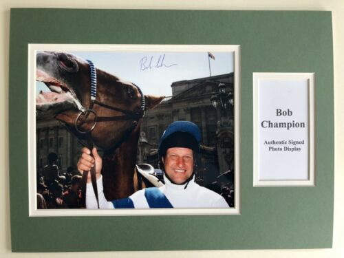 "Horse Racing Bob Champion Signed 16"" X 12"" Double Mounted Display"