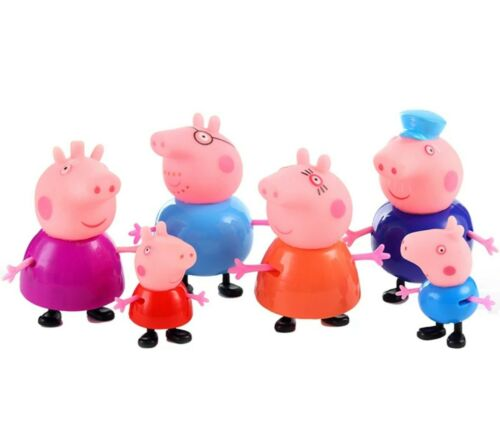 6 Peppa Pig Figurines PVC porcs famille George Wutz Maman Papa Grand-Mère Grand-père Set