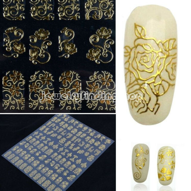 2016 Lots 3D gold Decal Stickers Nail Art Tip DIY Decoration stamping Manicure