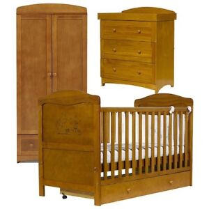 Wooden Toys R Us Winnie The Pooh Cot Bed Wardrobe Chest Of