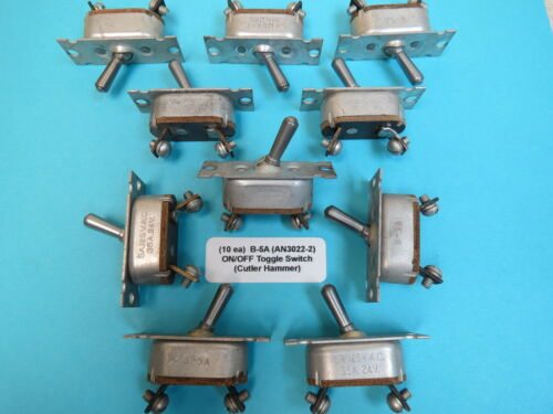 10 ea ON//OFF Toggle Switch Vintage WWII Aircraft Cutler Hammer B5A AN3022-2