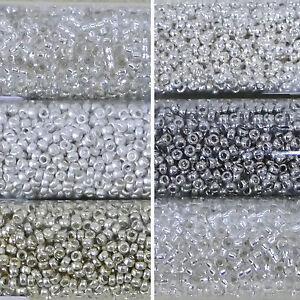 Miyuki-Rocailles-15-0-rund-1-5-mm-silber-5g-1-Rohrchen