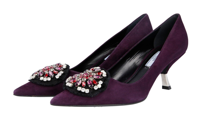 Luxury PRADA PUMPS scarpe 1i015g Prugna  Suede con Rhestones NUOVO 39,5 UK 6  autorizzazione ufficiale