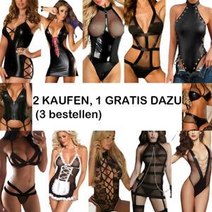 Damen Sexy Spitze/Leder Dessous Erotik Bodycon Reizwäsche Nachtwäsche Nachthemd