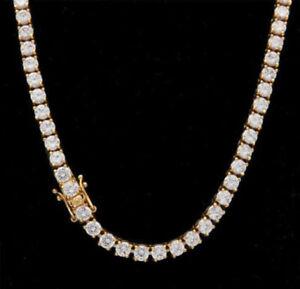 18K Mens Diamond Chain Gold Sliver Hip Hop Necklace 1 Row Lab Tennis Choker 5mm