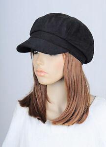 M208 Black Solid Cute Trendy Winter Autumn Hat Cap Visor Newsboy ... 3e3a0d26259