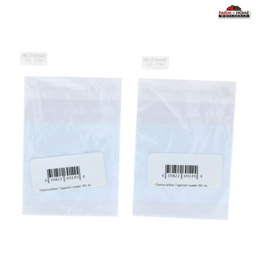 Fly Fishing Fluorocarbon Tapered Leader 9Ft 1X//2X//3X//4X//5X//6X//7X 2-Pack ~ New