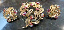 Vintage Signed Lisner Red AB Aurora Borealis Rhinestone Pin Brooch Earring Set