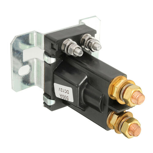 Black Plastic 4-Pin Over DC12V 500A Car Autos Dual Battery Isolator Relay Switch
