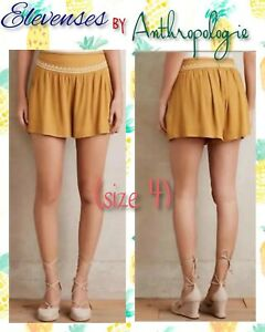 88-Anthropologie-Elevenses-Size-4-Mustard-Yellow-Shorts-w-Embroidery-amp-Pockets