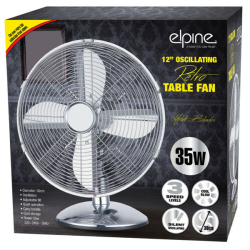 12-034-OSCILLATING-DESK-FAN-COOLING-AIR-METAL-CHROME-3-SPEED-HOME-OFFICE-30W-NEW