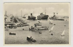 Shipping-postcard-Port-Said-Harbour-Egypt-shows-Cargo-Military-ships-A337