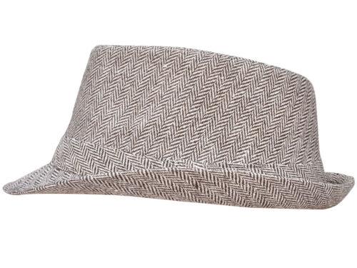 Chevron Print Teardrop Crown Upturned Brim 50s 60s Mod Wool Fedora Hats Caps