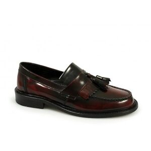 Ikon-SELECTA-Mens-MOD-Ska-Skinhead-Polished-Leather-Retro-Tassle-Loafers-Oxblood