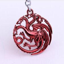 Game of thrones House Targaryen Keychain Red Metal Key Ring Chain