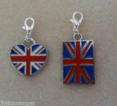 Armband Clip-Anhänger England Flagge Herz oder Flagge