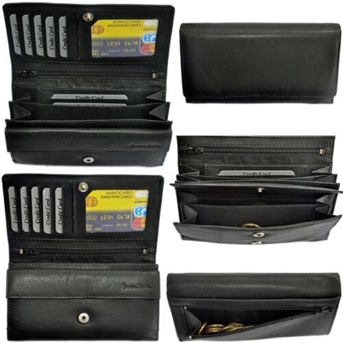 große Damen Geldbörse mit RFID-Schutz feines Rindleder Portemonnaie Geldbeutel