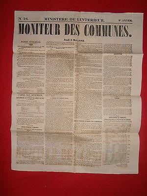 Journal Le Moniteur Des Communes Ministere De L'interieur N°18 - 3 Mai 1860 Helder En Doorschijnend Qua Uiterlijk
