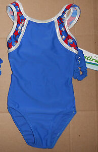 NWT Destira Gymnastic Royal Blue with Red and Silver Foil Stars Leotard Sml Adlt