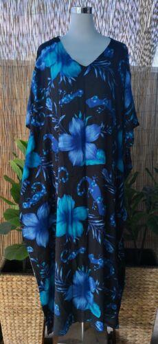 Dress Size 16-18-20-22-24 Plus Size Long  Blue Floral Polynesian Maxi Kaftan