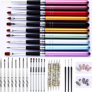 Unas-de-Gel-UV-kits-de-cepillo-Moteado-Pintura-Morada-Blanca-Plumas-Arte-en-Unas-accesorios