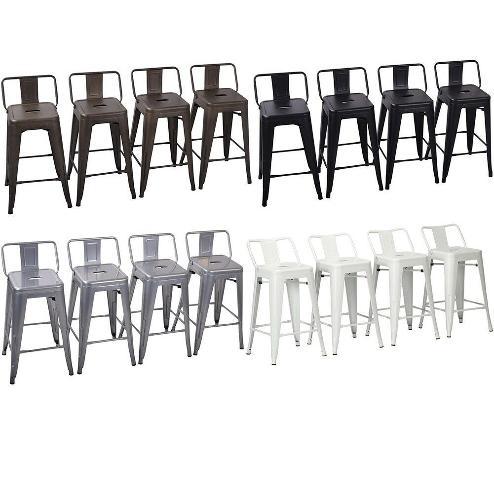 Tremendous Set Of 4 Metal Bar Stools Counter Height Barstool Chair W Low Back 18 24 26 30 Evergreenethics Interior Chair Design Evergreenethicsorg