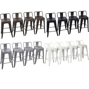 Set Of 4 Metal Bar Stools Counter Height Barstool Chair W Low Back