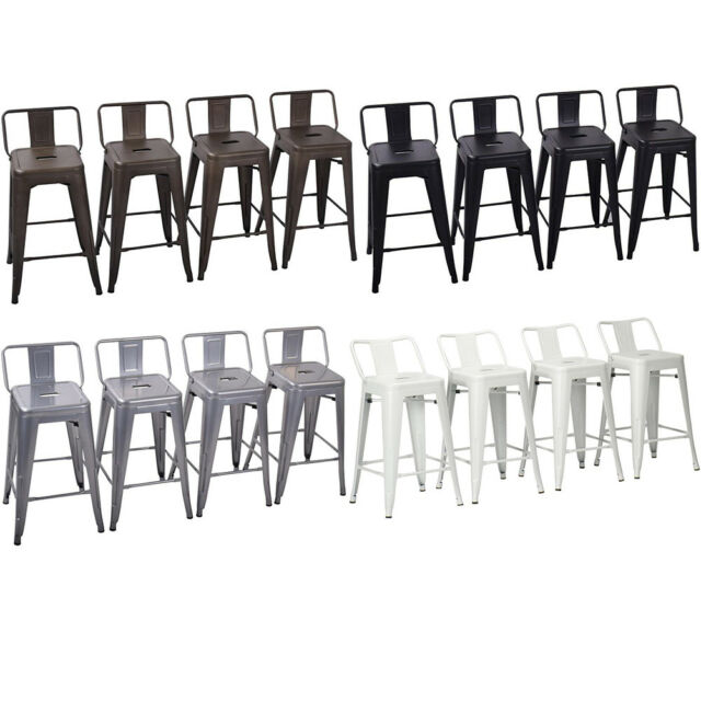 Astonishing Set Of 4 Metal Bar Stools Counter Height Barstool Chair W Low Back 18 24 26 30 Forskolin Free Trial Chair Design Images Forskolin Free Trialorg
