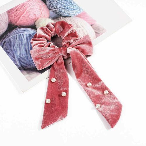 Bow Scrunchies Elastic Hair Rope for Women Hair Tie Bands Ponytail Holder Velet