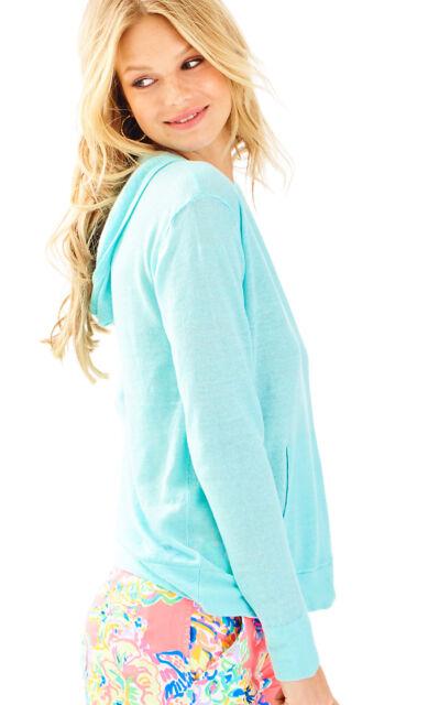 NWT Lilly Pulitzer Serene Blue 100% Linen Medina Hooded Sweater, Sz M, $98
