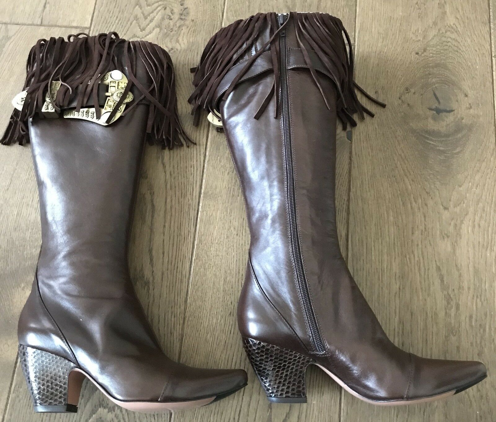 Damenschuhe LES TROPEZIENNES HIGH KNEE DK CHOCOLATE CALF LEATHER BOOTS - SIZE 37