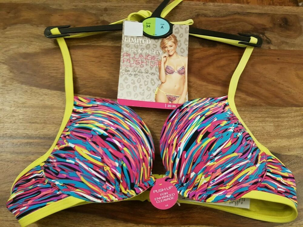 34 A M&s Collection Limitée Flirt Plongeant Push-up Bikini Top-rt Plunge Push-up Bikini Top
