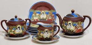 Antique-Satsuma-Moriage-Lithophane-Japanese-tea-set-11-pcs-Blue-immortals