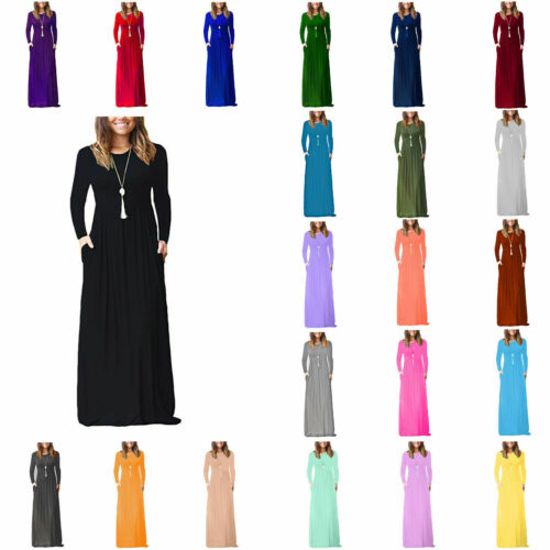 WLSM Women's Full sleeve Loose Plain Evening Party Long Dress Maxi with Pockets