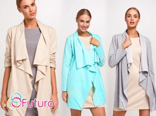 Womens Cascata Cardigan Maniche Lunghe Blazer Cappotto Capo Giacca Taglia 8 10 12 FA429