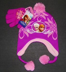840b4ca67b727e DISNEY FROZEN ANNA ELSA Knit Trapper Winter Hat & Gloves Set w/ Pom ...