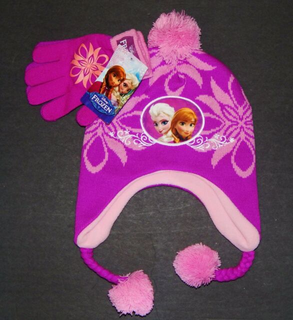 Disney Frozen Anna Elsa Maglia Cacciatore Cappello Inverno   Guanti Set con    b429a1a45b93